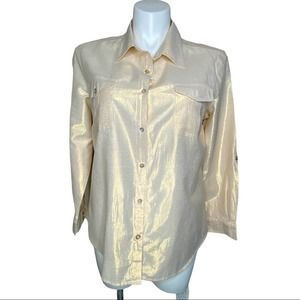 Ruby Red metallic-look shirt size 18